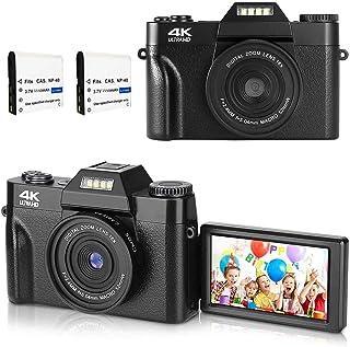 デジカメ デジタルカメラ コンパクト 4K 4800万画素 ビデオカメラ 3インチ180度反転スクリーン ウェブカメラ機能 自撮りカメラ 16Xデジタルズーム Micro SDカード128GB対応 日本語説明書付き/日本語システムサポート(2つ...