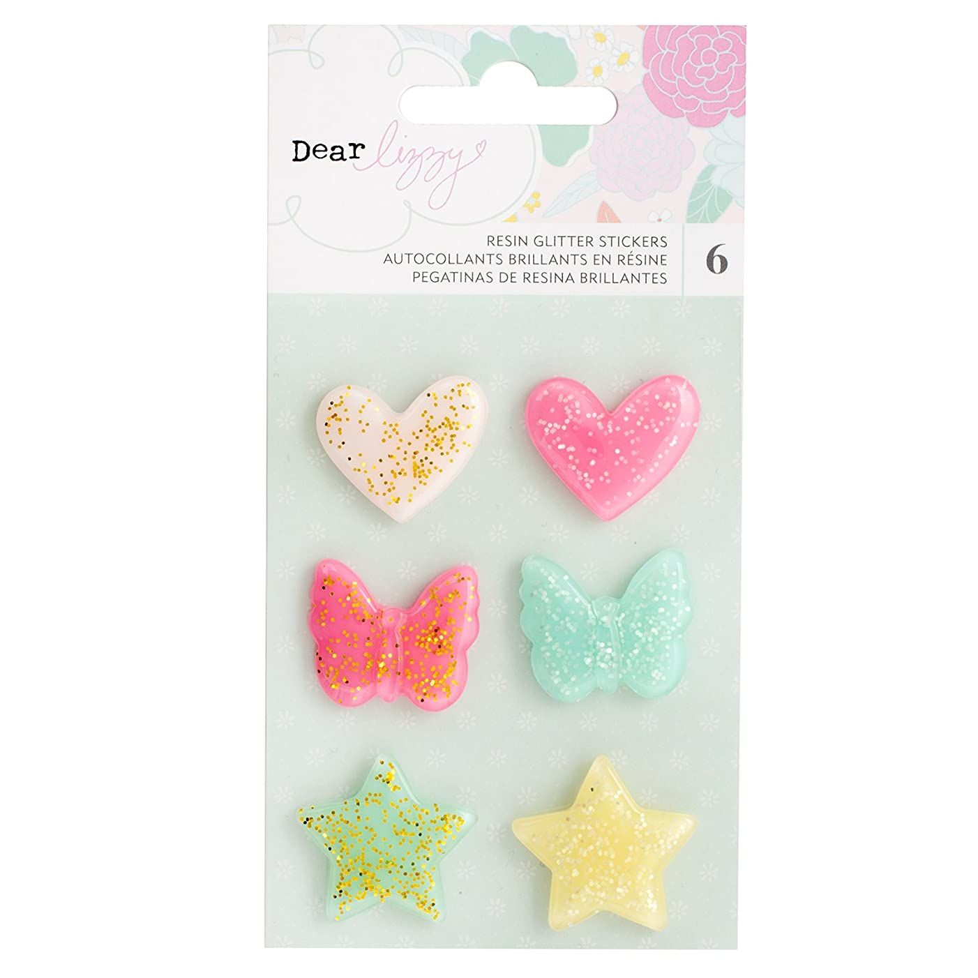 Dear Lizzy 6 Piece Glitter Resin Shapes Star Colorful Embellishments