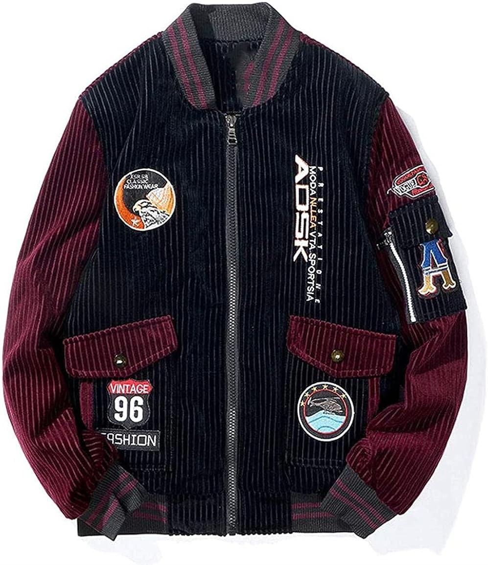Men's Vintage Embroidered Patch Fleece Lined Corduroy Varsity Baseball Bomber Jacket