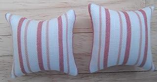 1/12a escala De muñecas casa impreso tela cojines: rayas diseño en tonos de rosa y blanco