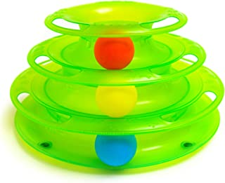 Interactive Cat Ball Toys - 3 Level Rolling Ball Toy for Multiple Cats or Single Kitty - Fun Track Game Play for Kitten to Cats and Ages
