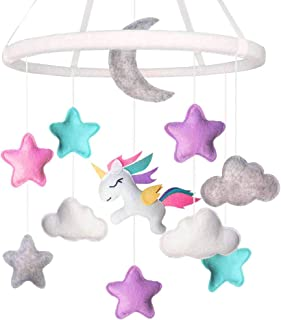 Unicorn Baby Crib Mobile with Handle | Nursery Baby Room Decor | Unicorn Felt Baby Girl Mobile for Bassinet | Finger Puppet Included | Ideal for 3-18 Months
