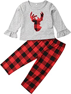 GOOCHEER Funny Toddler Girl Christmas Outfits Boutique Reindeer Shirt Top+Plaid Pants Set