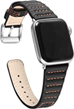 Secbolt Leather Bands Compatible with Apple Watch Band 38mm 40mm, Classic Genuine Leather with Line for iwatch Series 5/4/3/2/1 Women Men