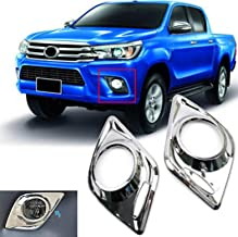 SAISDON- For 2015-2018 Toyota Vigo Hilux D4D Pickup Chrome Revo Chrome Fog Light Lamp Cover Trim Surrounds Overlays Rings Abs [1 Set of 2 Pieces (L&R)] [IQ2]