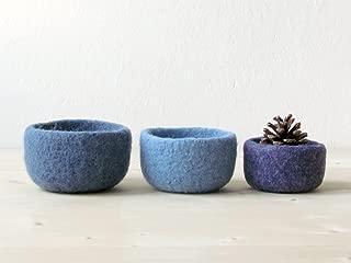 3 Felted wool bowls - Nesting bowls - Felted bowl - Organic eco-friendly - ombré blue - minimalist decor