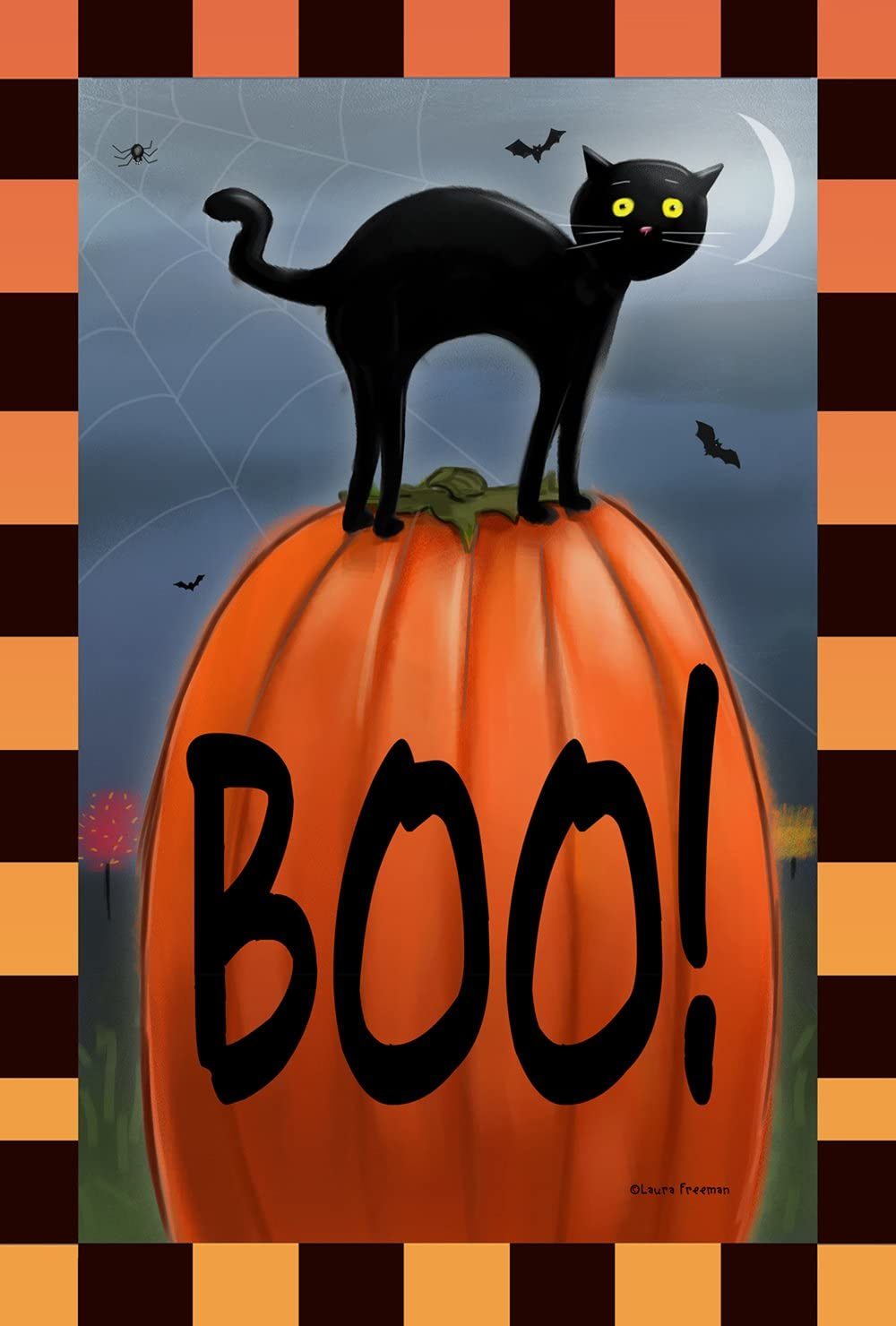 Toland Home Garden Boo Cat 28 X 40 Inch Decorative Black Kitty Halloween Pumpkin House Flag Garden Outdoor