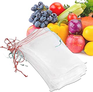 METCRY 50 Pcs Netting Bags, Garden Plant Fruit Protect Drawstring Net Bag Insects Mosquito Bug Net Barrier Bag Mesh Agains...