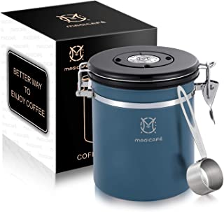Magicafé Airtight Coffee Storage Container - with Co2 Valve Coffee Bean Grounds Storage Canister Medium Blue 16oz