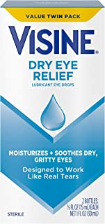 Visine Dry Eye Relief Lubricant Eye Drops to Moisturize and Soothe Irritated, Gritty and Dry Eyes, Designed to Work like Real Tears, Polyethylene Glycol 400, Twin Pack, 2 x 0.5 fl. oz