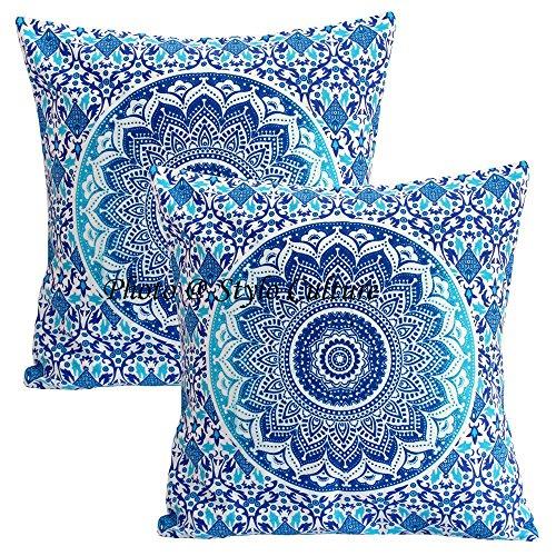 Stylo Culture Cojines Decorativos étnicos Cojín Decorativos a Cuadros Azul Cojín Decorativos Cojín Cuadrado de algodón Tradicional Mandala Ombre Cojines de 40x40 cm Cojín (Juego de 2 Piezas)