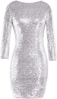 Women's Club Dress,Women Sequin Glitter Long Sleeve Round Neck Backless Bodycon Stretchy Party Dress Zulmuliu