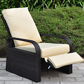 Outdoor Wicker Recliner Chair with 5.12'' Cushions, Automatic Adjustable Patio Chaise Lounge Chairs, Aluminum Frame. UV Resistant and Rustless (Khaki)
