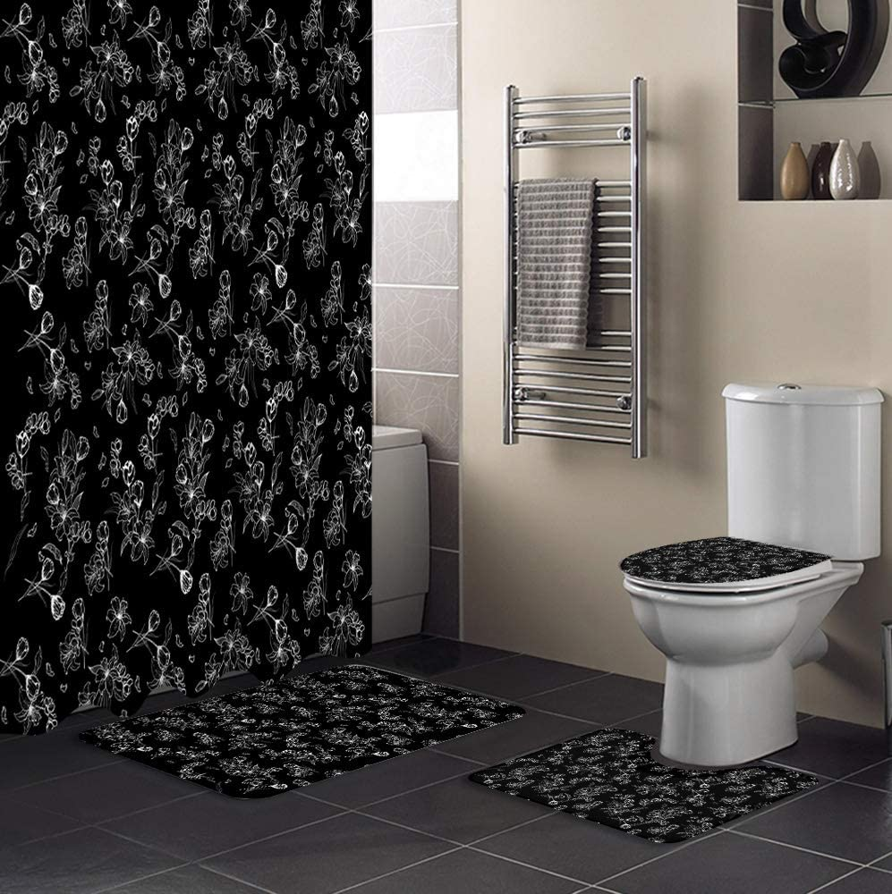 BABE MAPS 4 Pcs Xray Flower Rug Max 47% OFF Set Shower Ranking TOP16 Curtain with Non-Slip