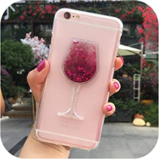 La mejor funda de teléfono de vidrio de vino 3D Quicksand para iPhone 5, 5S, 6, 6S, 7, 8 Plus