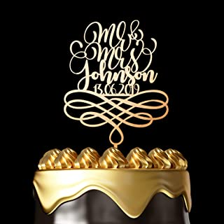 Personalized Cake Toppers for Wedding - Customize Your Own Wedding Cake Topper By Choosing Design, Color, Text and Size – Made in USA (Metallic Gold, 6 Inch)