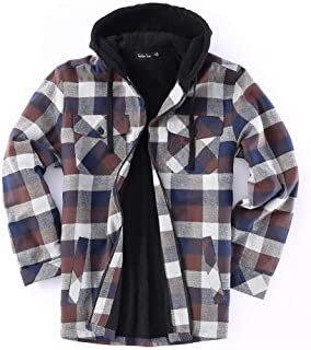 Big and Tall Men Full Zip Hoodie Flannel Jacket Sherpa Lined