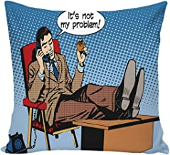 YOLIYANA Retro Durable Print Pillow Cover,Pop Art Style Business Man Talking on Phone Drinking Relax Boss Manager Negotiation for Bedroom,26''L x 26''W