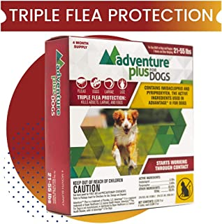 Adventure Plus Triple Flea Protection for Dogs, Large 21-55 lbs, 4 Months, 4 Doses