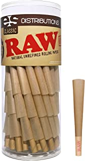 RAW Cones Classic 1 1/4 | 64 Pack | Natural Pre Rolled Rolling Paper with Tips & Packing Sticks Included