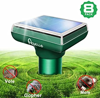 Apello Mole Repellent Mole Repeller Solar Powered Chipmunk Repellant Ultrasonic Outdoor Gopher Repellent Ultrasonic No Mole Trap No Vole Poison Harm to Your Yard, 8 Pack