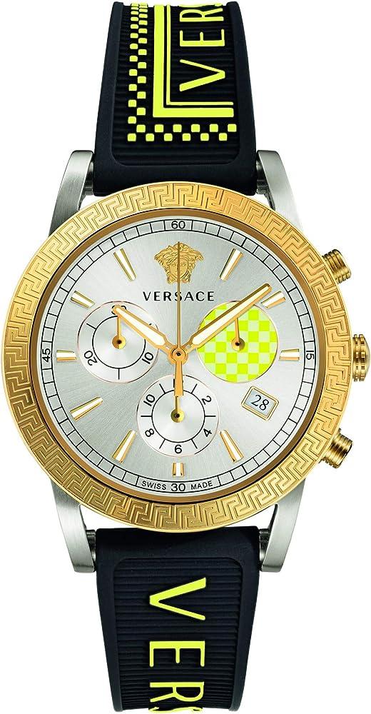 Versace sport tech,orologio cronografo da donna,con cassa in acciaio e cinturino in caucciu` VELT005 19