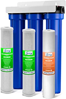 """iSpring WCB32O 3-Stage Whole House Water Filtration System w/ 20"""" x 2.5"""" Oversized Fine Sediment and Carbon Block Filters - Reduces up to 99% Chlorine"""