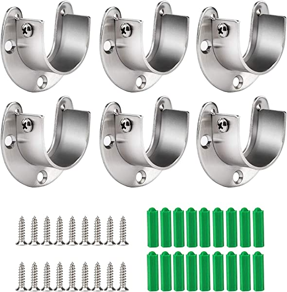 Cosweet 6 Packs Stainless Steel Closet Pole Sockets Closet Rod End Supports Flange Set Rod Holder With Screws For Easy Installation Quick Removal U Shaped