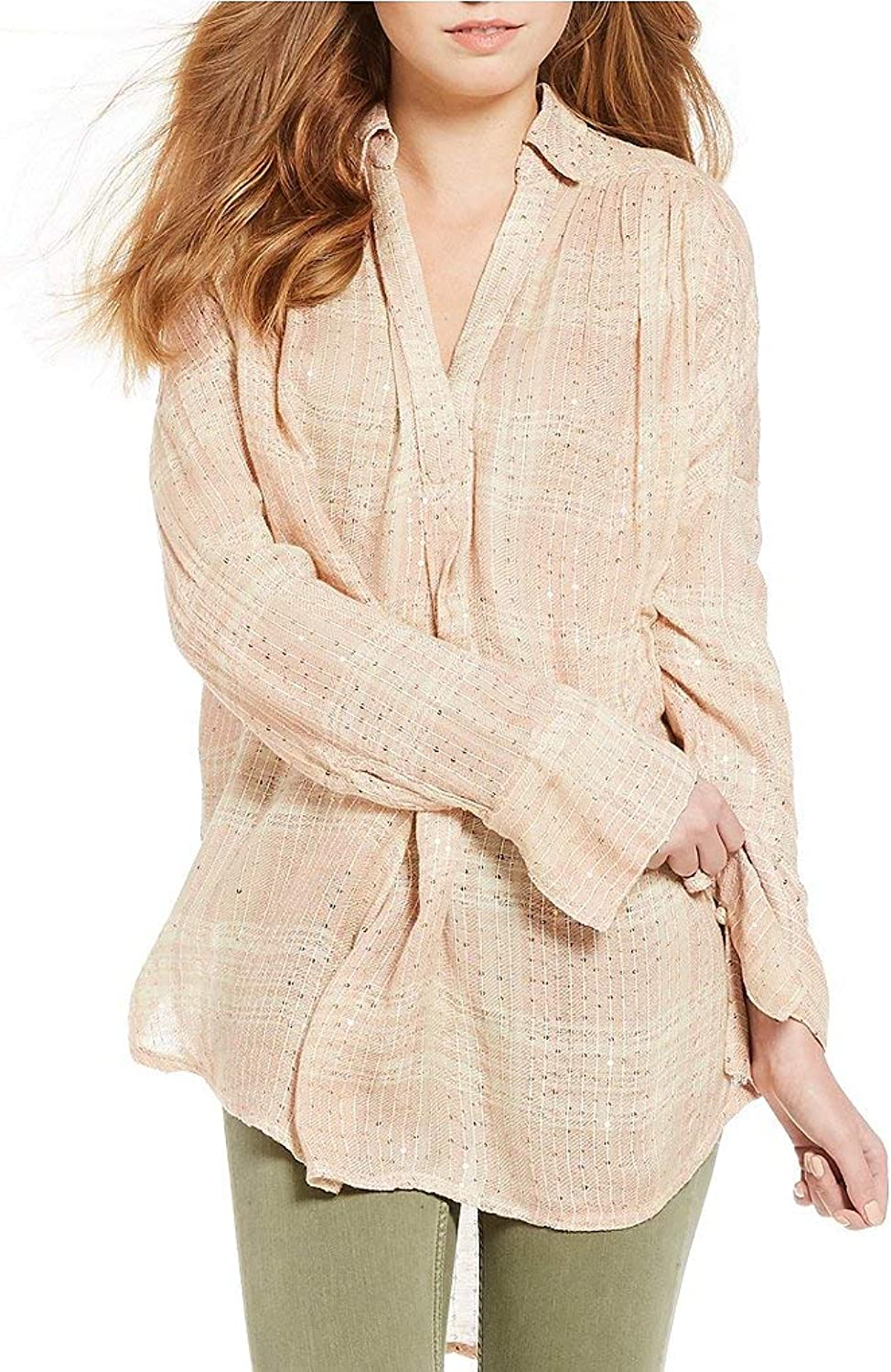 Free People Womens Plaid Sequin Embellished Henley Top