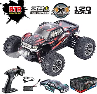 HIBRO 1:20 Scale Remote Control Car,28km/h Fast Speed RC Truck 4x4 Off-Road Bigfoot Racing Car 4WD 2.4Ghz Radio Controlled Electric Hobby High-Speed RC Car for Kids and Adults, Extra Car Cover