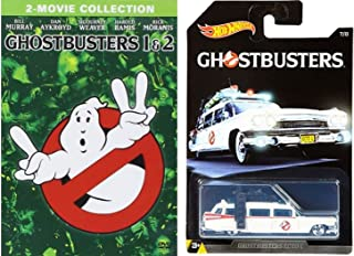 Ghostbusters 1 & 2 DVD Set 2-Movie Collection with Hot Wheels Exclusive Classic Ghostbusters Ecto 1 Car Die Cast 1:64 Model Bundle