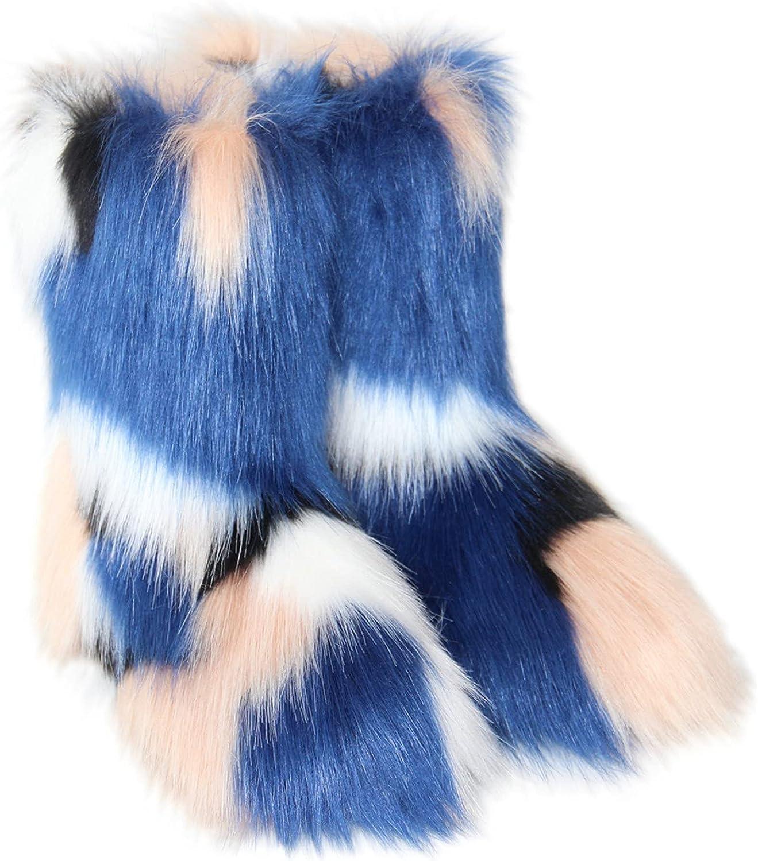 Janveny Winter Snow Boots for Plush Atlanta Mall Fur Max 86% OFF Women Fluffy Faux