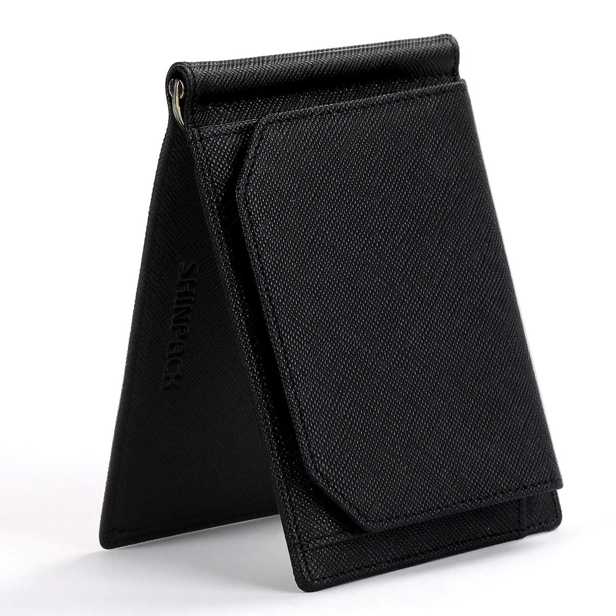 幸運な味付けフラフープSHINPACK マネークリップ メンズ 小銭入れ付き 牛革 本革 二つ折り 財布 薄い ブラック
