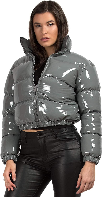 Womens Wet Look Vinyl PVC PU Shiny Cropped Puffer Jacket Coat