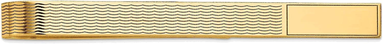 Bonyak Jewelry Men's Grooved Engravable Tie Bar in 14K Yellow Gold