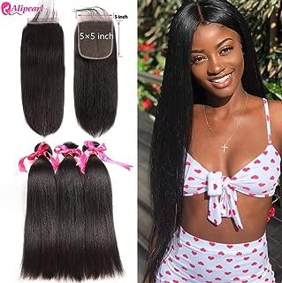 AliPearl Hair Straight Human Hair 3 Bundles With 5x5 Closure Brazilian Hair Weave Bundles Natural Color Remy Hair Extension Ali Pearl Hair(16 18 20+ 5×5closure 14)