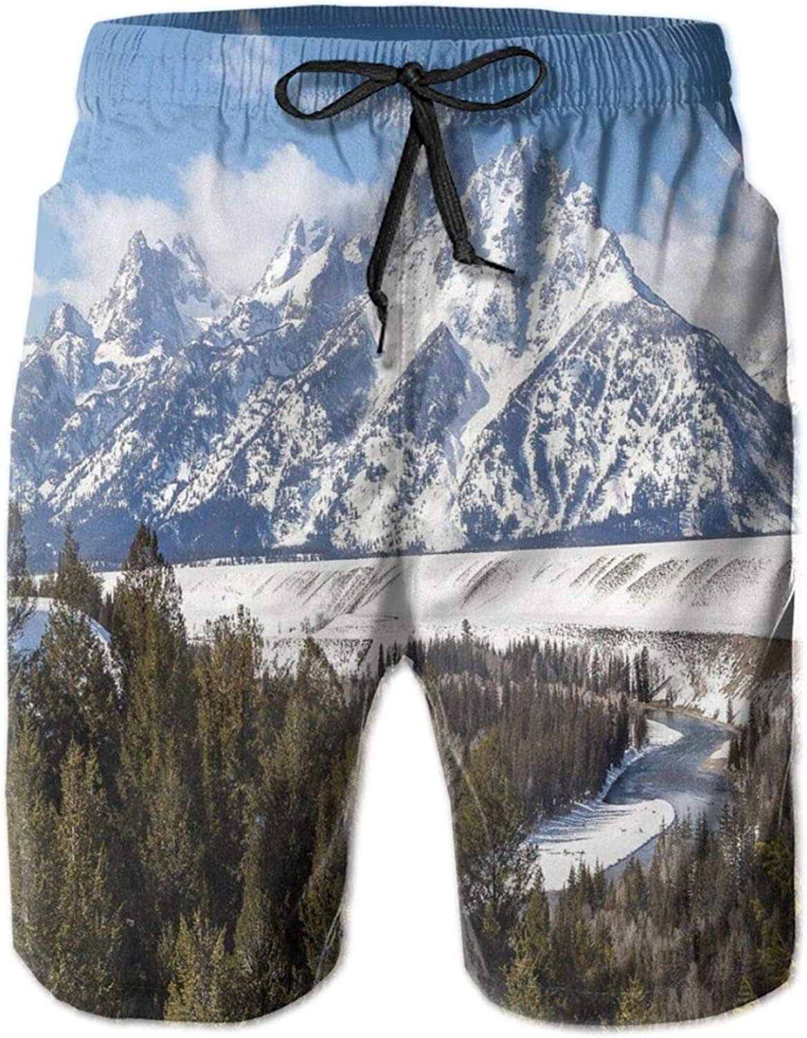 Magnificent Landscape of The Grand Teton Snowy and Cloudy Peaks with Trees Mens Swim Shorts Casual Workout Short Pants Drawstring Beach Shorts,XXL