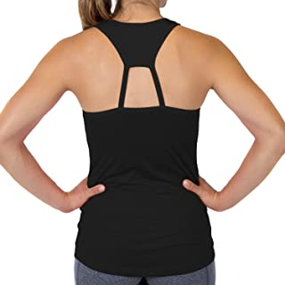 Women's Racerback Tank Top - Workout Top with Built-in Bra and Removeable Modesty Cups