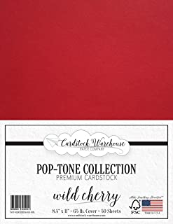 Wild Cherry RED Cardstock Paper - 8.5 x 11 inch 65 lb. Premium Cover - 50 Sheets from Cardstock Warehouse