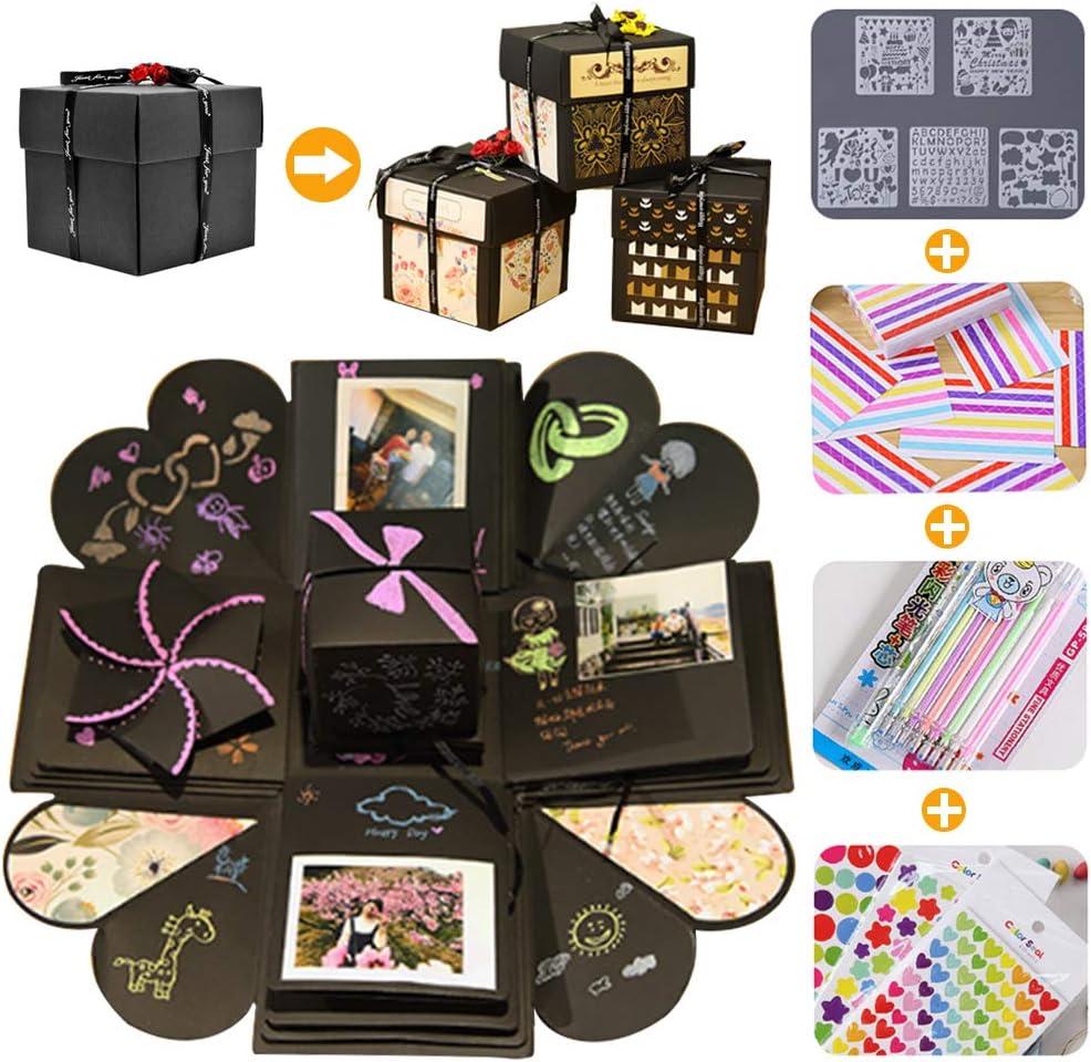 Explosion Box, Caja Sorpresa Creativa 4 Caras Caja de Regalo de áLbum Hecha a Mano Creativa áLbum De Recortes DIY, Aniversario de CumpleañOs,ValentíN,Boda,áLbum de Fotos para Mujer Novio Niños