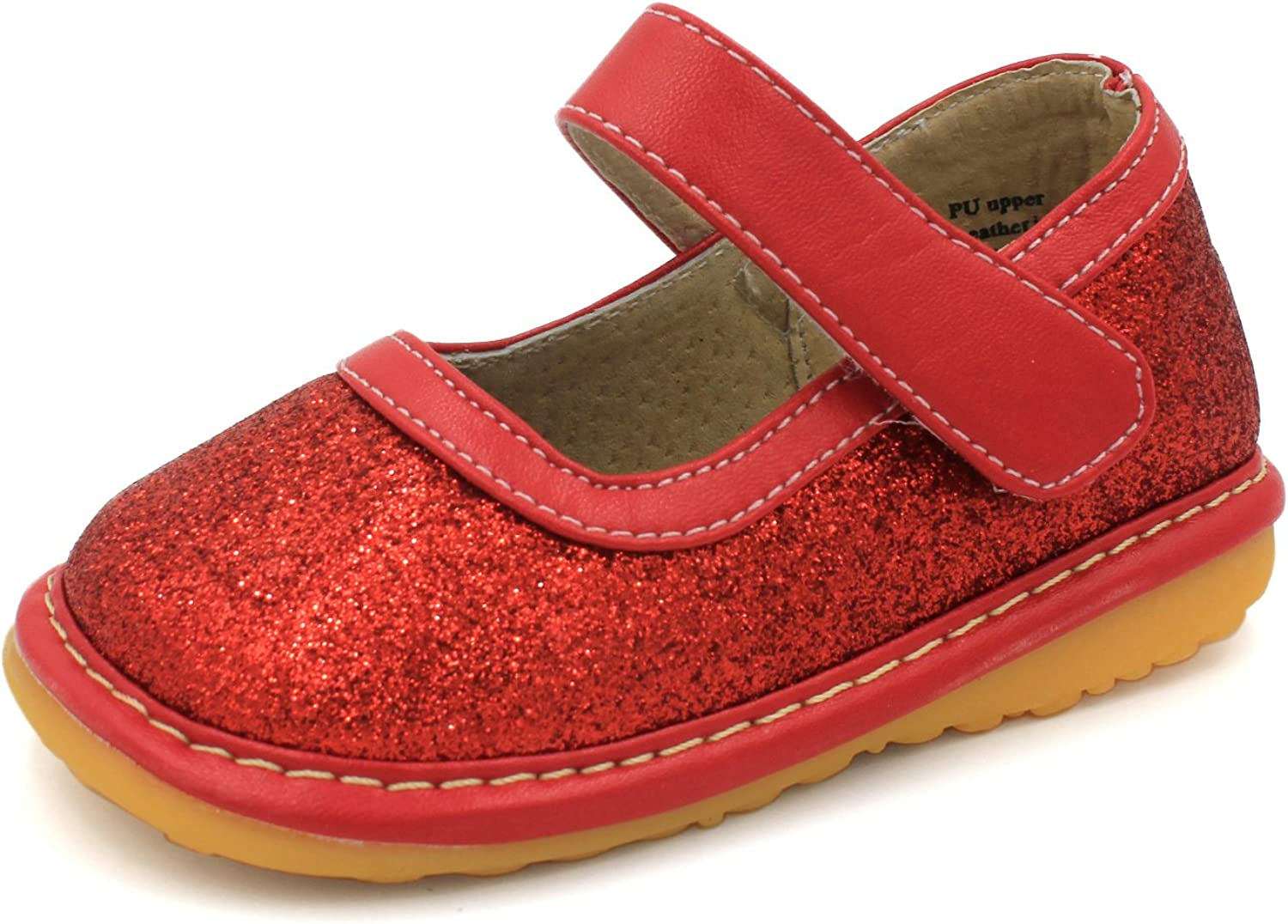 Little Mae's Boutique Mary Jane Squeaky Shoes for Toddler Girls, Ideal Walking Shoes with Removable Squeaker and Adjustable Velcro Strap - Soft Sole Shoes for Little Girls