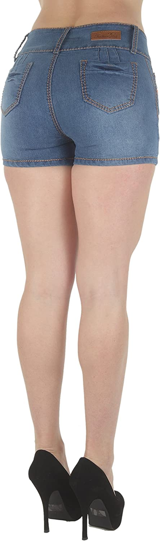Plus Size, Butt Lifting, Levanta Cola, Mid Waist Denim Booty Shorts