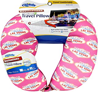 Cloudz Las Vegas Destinations - Microbead Travel Neck Pillow - Pink