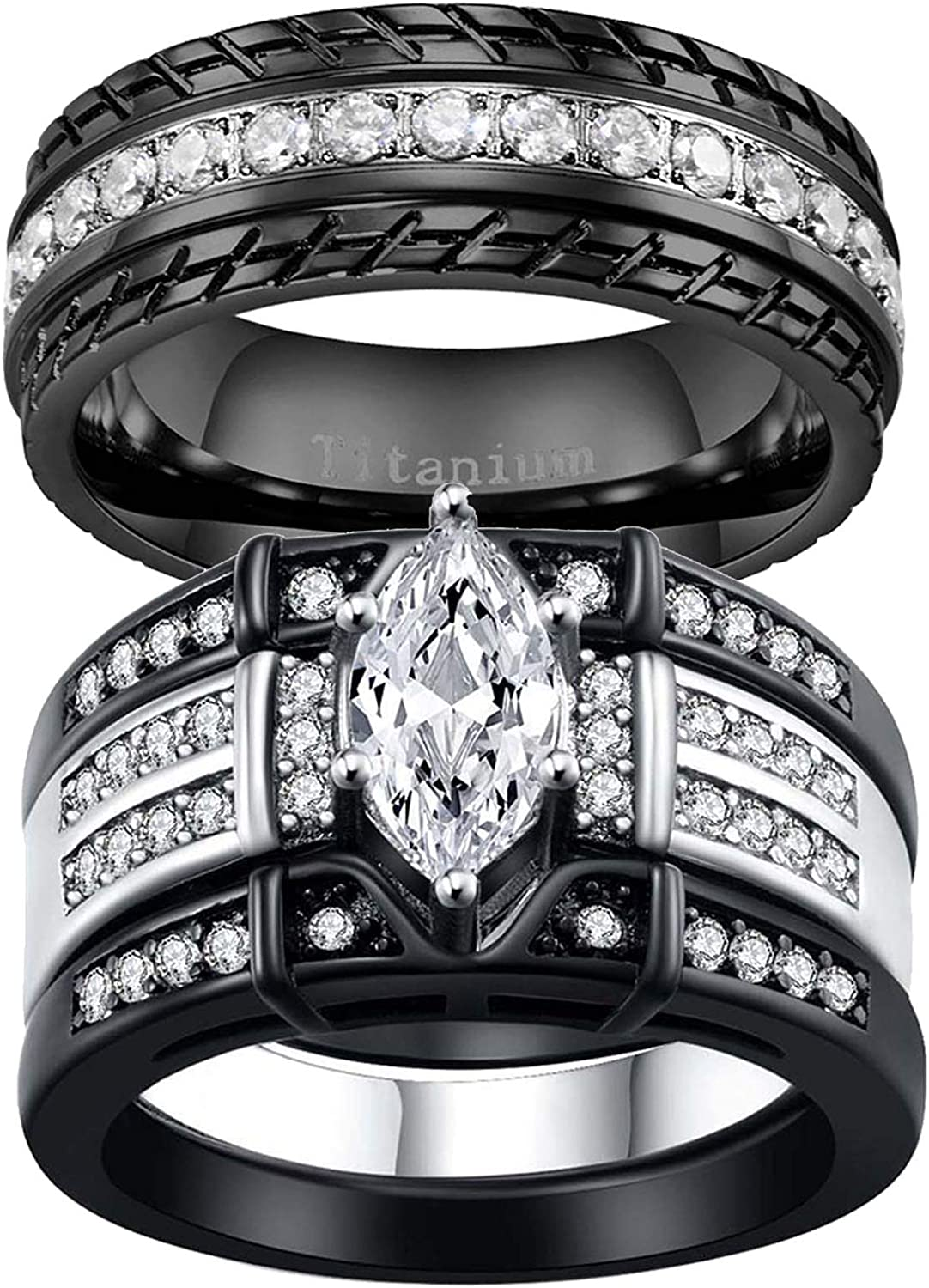 ringheart 2 Lowest price challenge Black Rings His and Max 88% OFF Marquise Hers Ring Couple