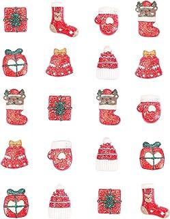 BESTOYARD 20 peças de pingentes natalinos de resina plana com botões sortidos DIY Glitter Adesivos Miniatura Acessórios de...