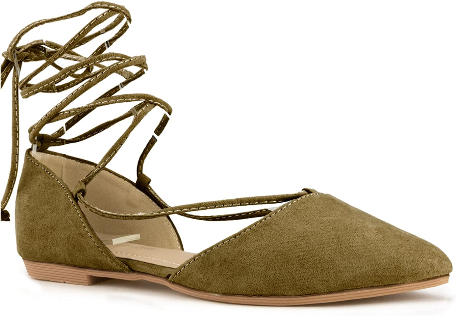 Fashion Designer Inspired Ankle Strap Wrap Around Tie Up Pointy Pointed Toe D'Orsay Ballet Flats Sandals