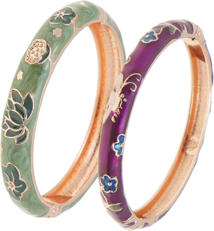 UJOY Cloisonne Bracelet Openable Hinge Gold Cuff Enamel Flower Blue Bangle Jewelry Gift for Women 55A86