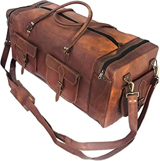 TUZECH 30 Inch Real Goat Leather Large Handmade Travel Luggage Bags in Square Big Bag Carry On