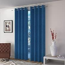 Home Furnishings Heavy Jute Curtains (Blue) -Set of 2