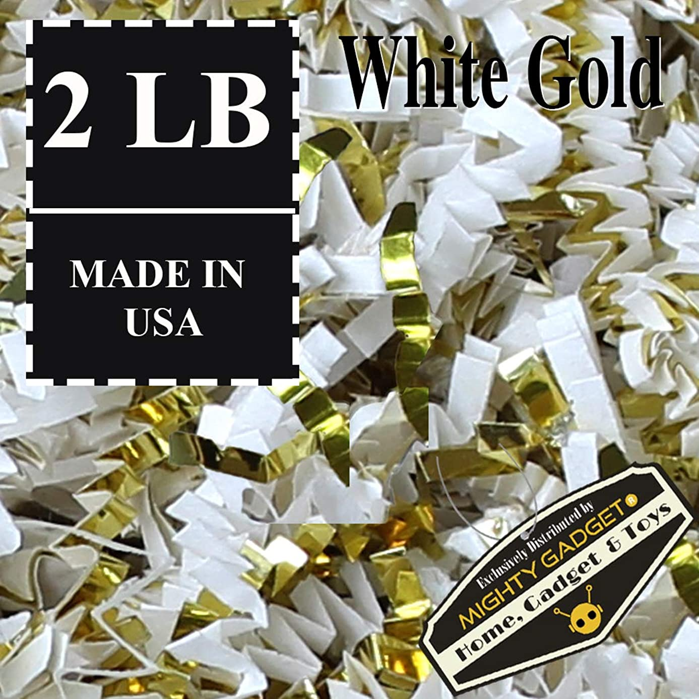 Mighty Gadget (R) 2 LB Premium White Gold Metallic Mix Crinkle Cut Paper Shred Filler for Gift Wrapping & Basket Filling